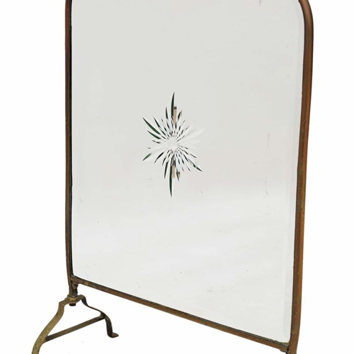 Victorian brass cut glass fire screen
