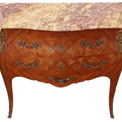 Bombe marquetry kingwood marble chest of drawers