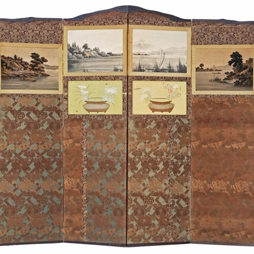 Victorian Chinoiserie mahogany dressing screen
