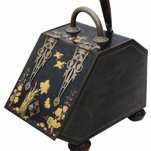 Victorian Japanned coal scuttle