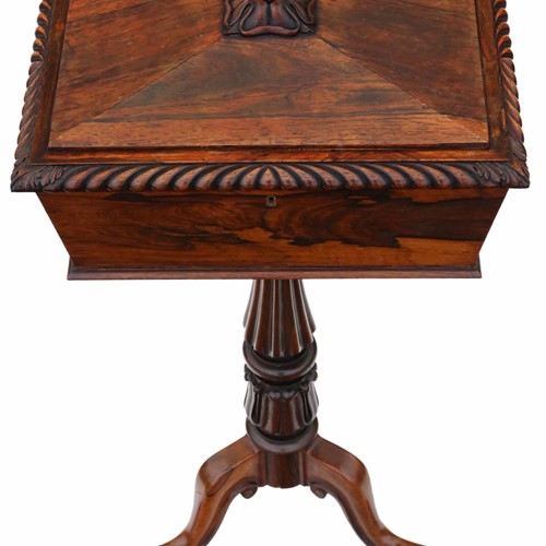 Regency carved rosewood tea ploy