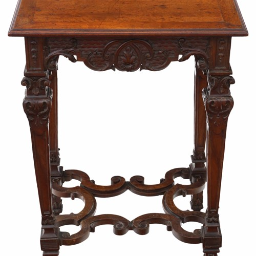 Victorian Gothic carved walnut wine table
