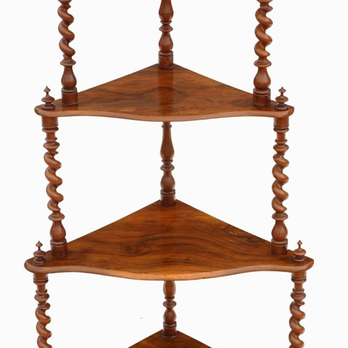 Victorian figured walnut corner whatnot