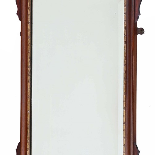 Inlaid mahogany fret cut wall mirror