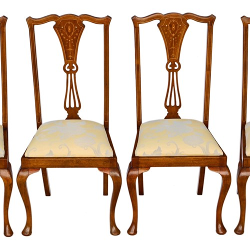 Set of 4 Victorian marquetry mahogany dining chair