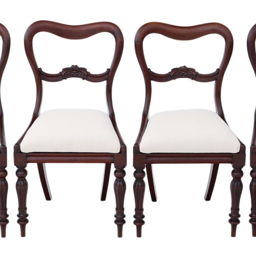 Set of 4 William IV mahogany balloon dining chairs