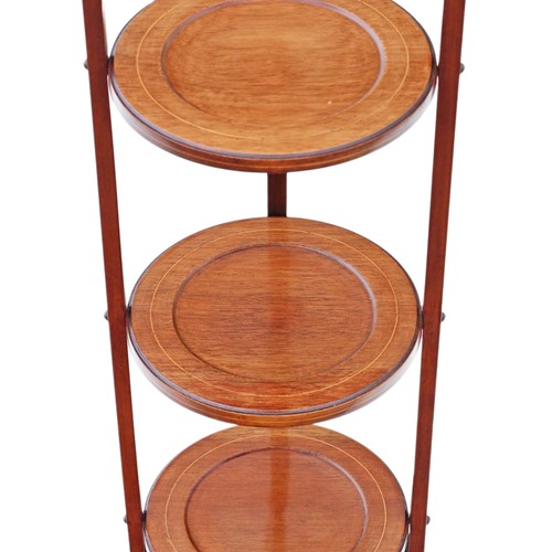 Edwardian folding inlaid mahogany cake stand