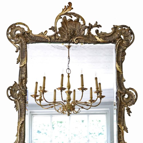 Antique large quality 19th Century gilt mirror