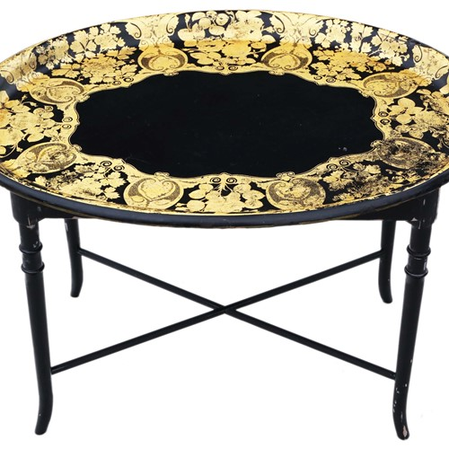 Victorian decorated black lacquer tray on stand