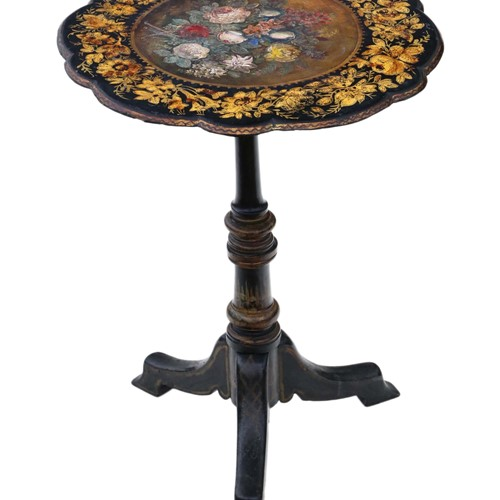 Victorian papier mache tilt top tea table