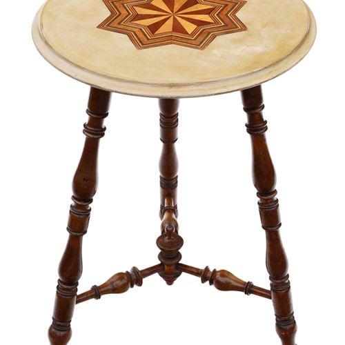 Victorian decorated and inlaid beech cricket table