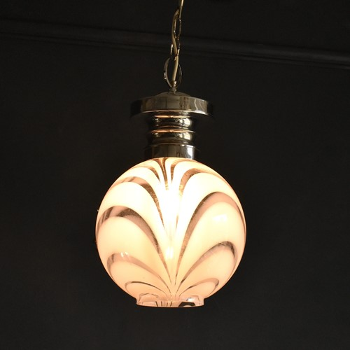 Art Deco Swirly Glass Pendant Light