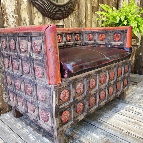 Antique Wooden Storage Bench
