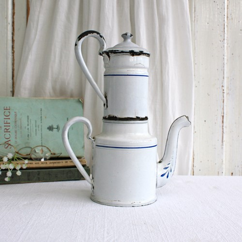 Little French Blue and White Enamel Coffee Pot