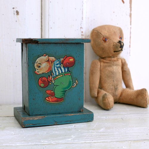 Old French Wooden Money Box, Original Paint