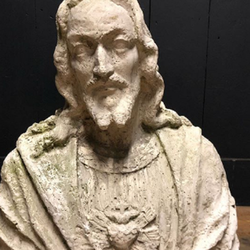 Early 20th Century Life Size Plaster Bust Jesus