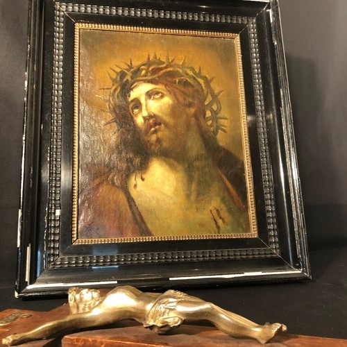 Outstanding Oil On Canvas Christ Hand Signed 1830