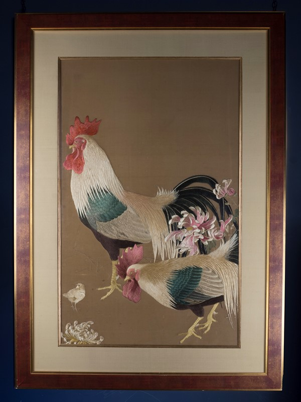 Exceptional Framed Meiji Embroidery-roche-coward-antiques-japanese-meiji-embroidery-chickens-00001-main-637267722618604872.jpg