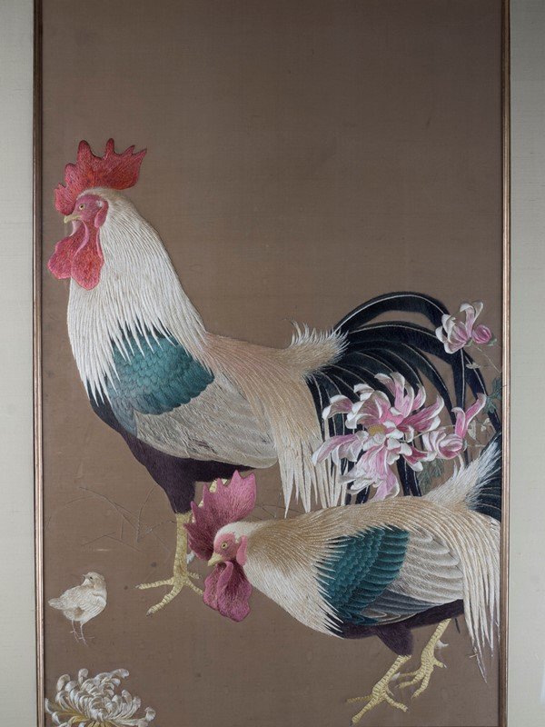 Exceptional Framed Meiji Embroidery-roche-coward-antiques-japanese-meiji-embroidery-chickens-00002-main-637267722628292264.jpg