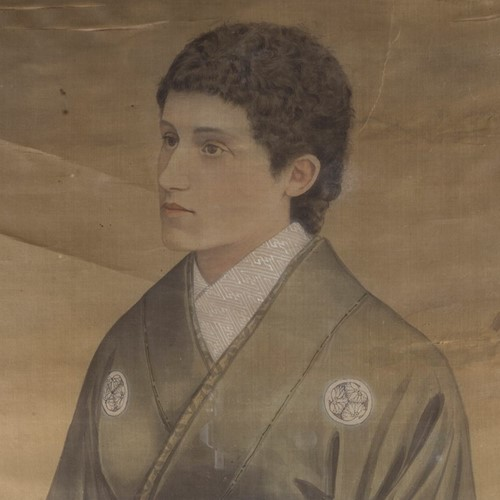 19th Century Full length Japanese Portrait on Silk