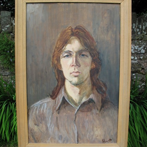 Portrait of a young man 'Jurgen' - Oil on board