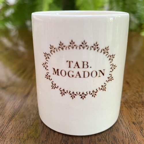 Advertising creamware store pot Mogadon tablets