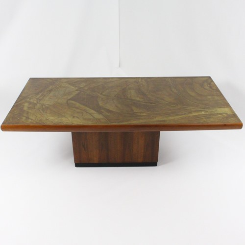 1970's coffee table with etched brasstop