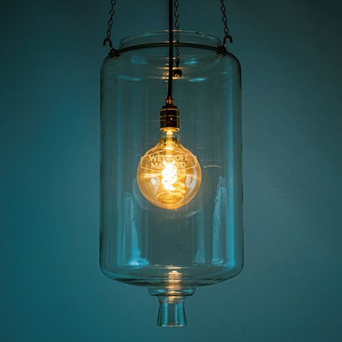 60's Milk Parlour glass light 'Receiver'
