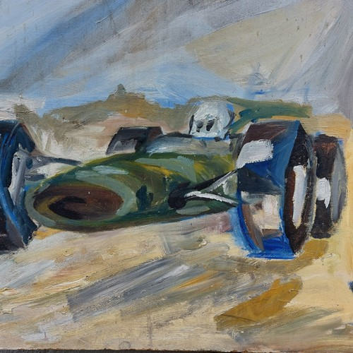 Oil on board painting of british motor racing