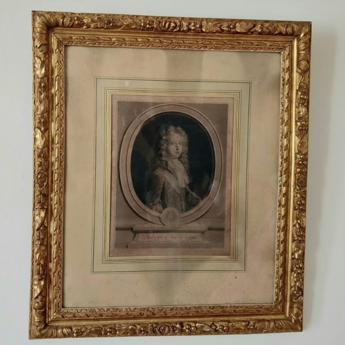Large antique french engraving in a gilt frame