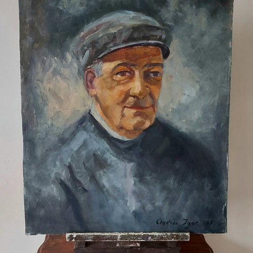 LARGE Oil on canvas of old man by andrée igot