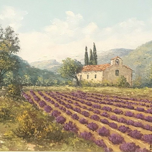 Lavender fields in provence old stone mas house