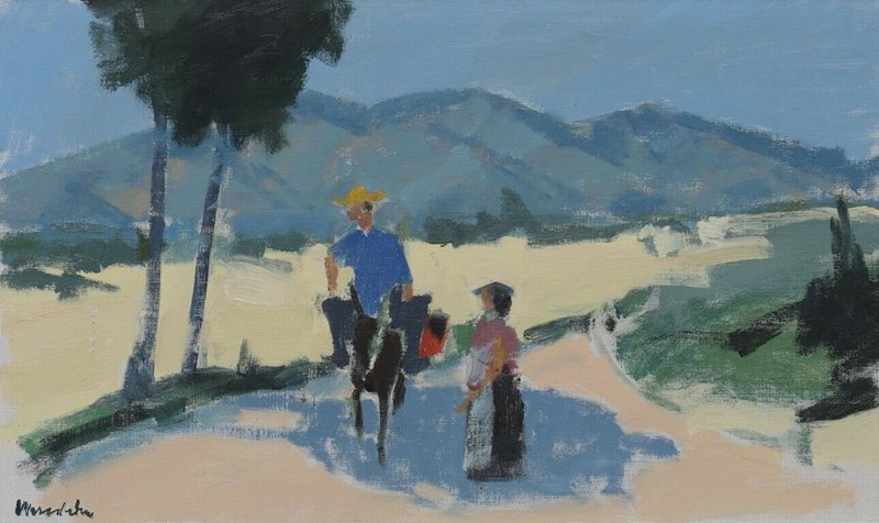20th century signed oil-  figures sunny landscape-stag-gallery-kl1-main-637424311923045563.jpg