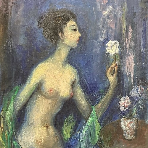 1950's  French nude lady admiring vase of flowers