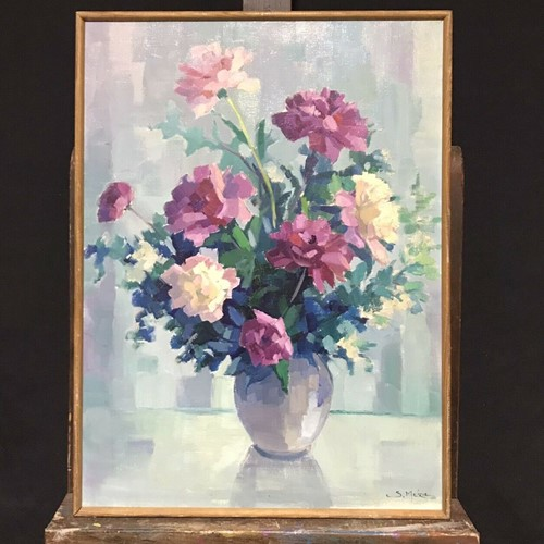 1970's still life oil - beautiful bouquet flowers