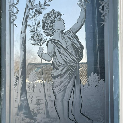 French Etched Glass Chateau Door