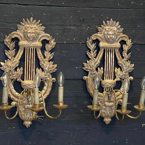 Large Pair French Gilt Wood Wall Sconces