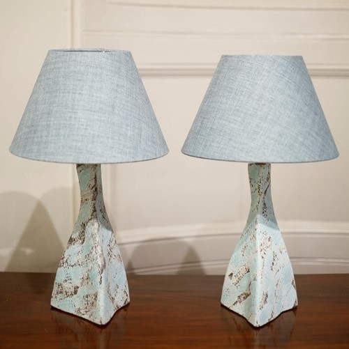 Pair of Studio pottery lamps- Blue Twist