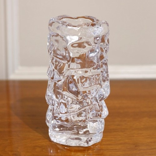 Mid century Scandinavian glass ice vase