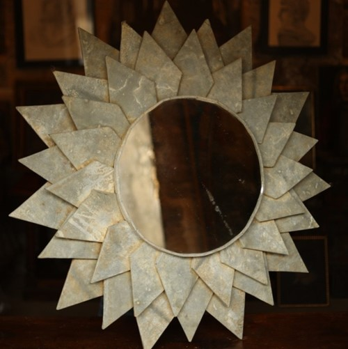 Large 20th century Starburst Zinc covered mirror