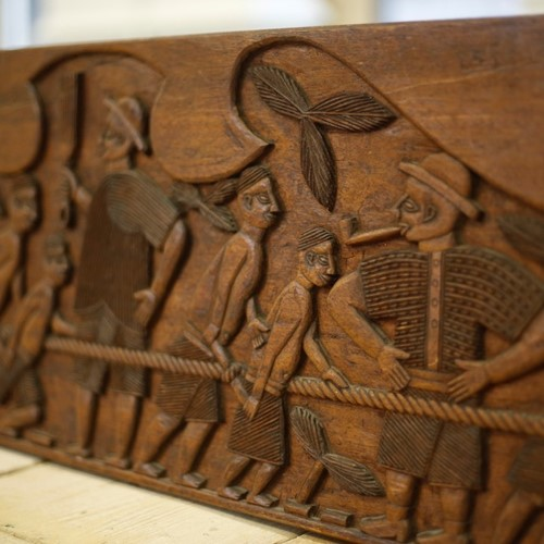 Early 20th century African carved panel- Slaves