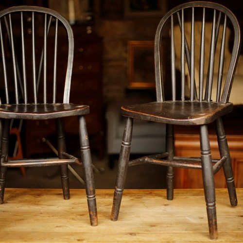 19th century Windsor side chairs, original black