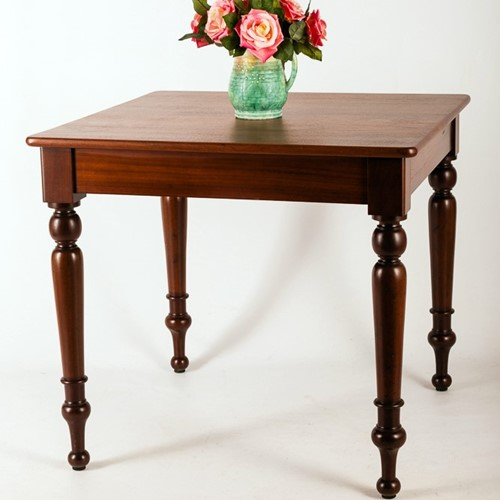 19th Century Solid Mahogany Square Dining Table