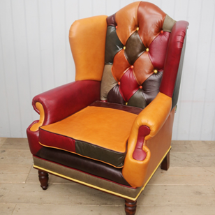 Harlequin Patterned Derby Wingback Lounge Chair