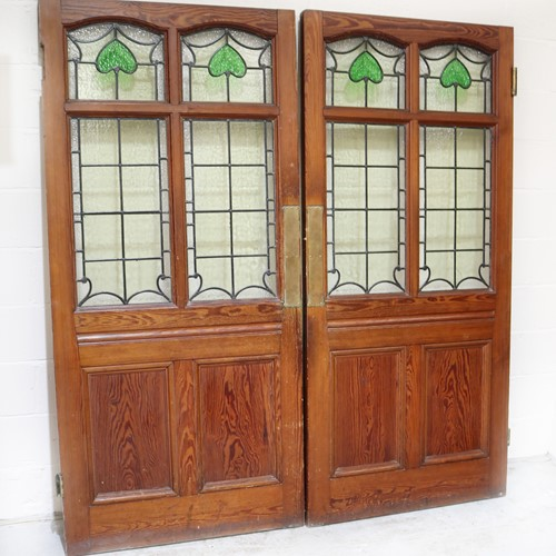 Pair of 19th Century Pitch Pine Doors