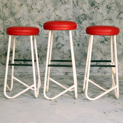 Three Metal Retro Style Stools