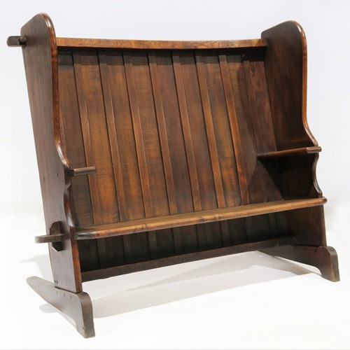 Solid Oak Bench with Sleigh Feet