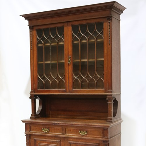 Late 19th Century Solid Oak Two-door Bookcase