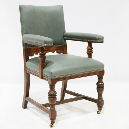 Green Leather Carved Oak Armchair