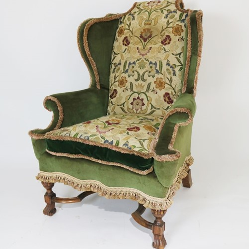 Large Carolean Style Wing Armchair